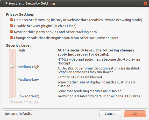 TOR 4.5 Security Slider on Ubuntu