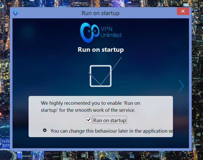 VPN unlimited run at startup