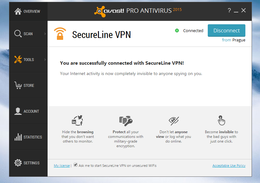 Avast SecureLine VPN connected