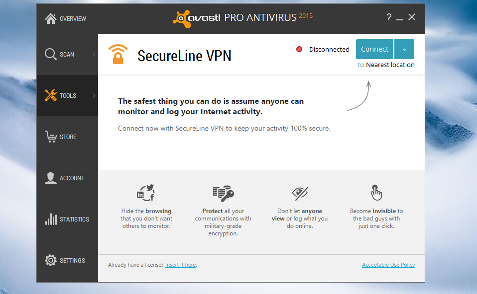 Avast SecureLine VPN Interface