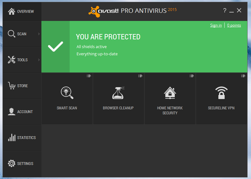 Avast Pro main screen
