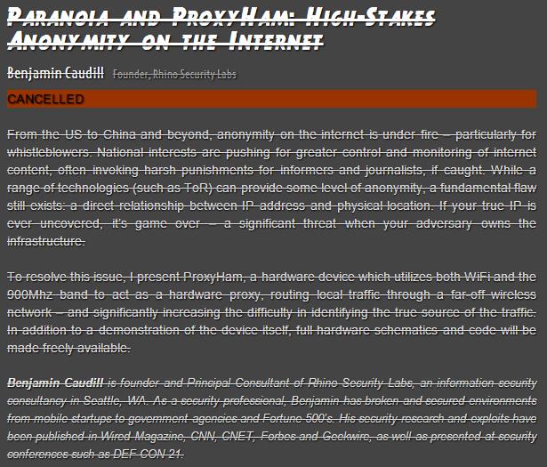 ProxyHam presentation canceled at DEFCON