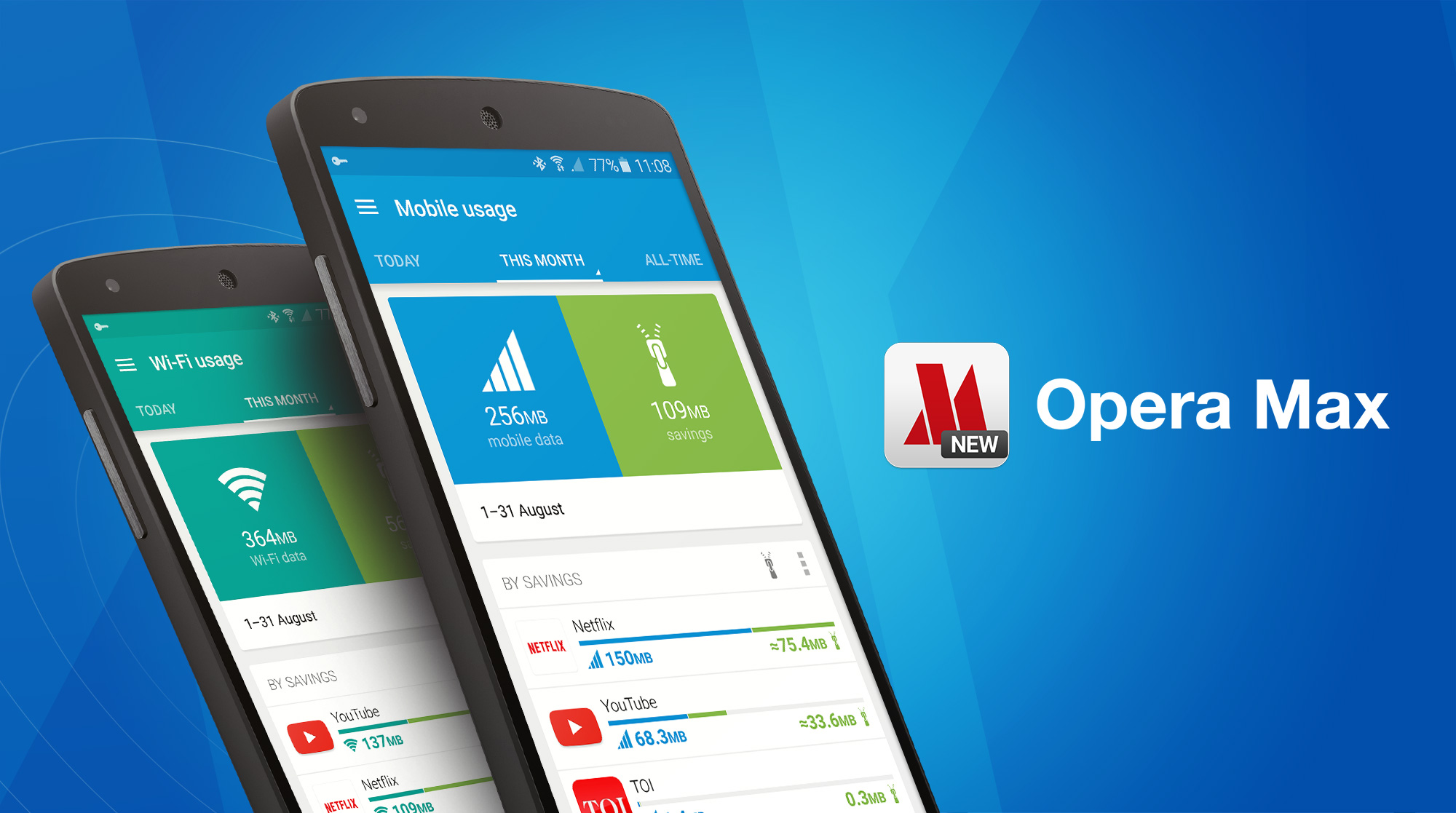 Opera Max saves data when streaming Youtube and Netflix