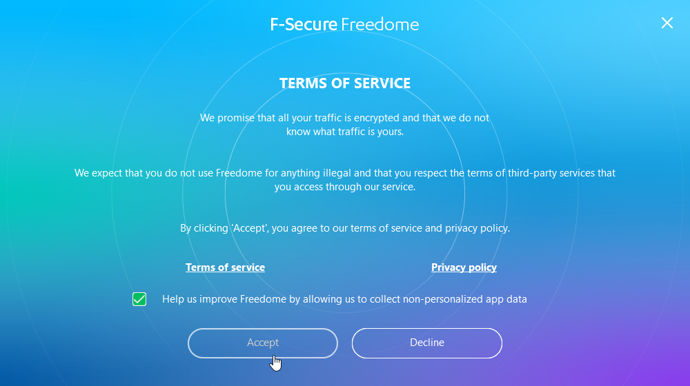 Freedome installer first screen
