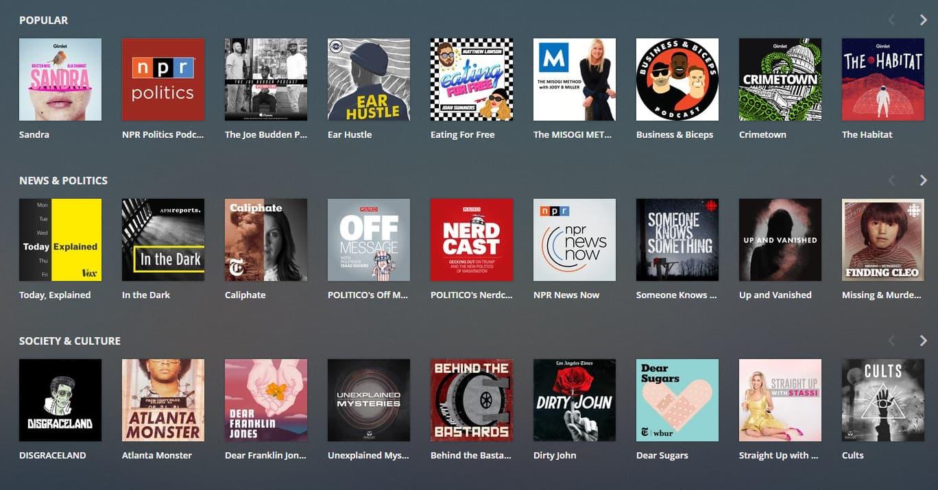 Plex adds Podcasts